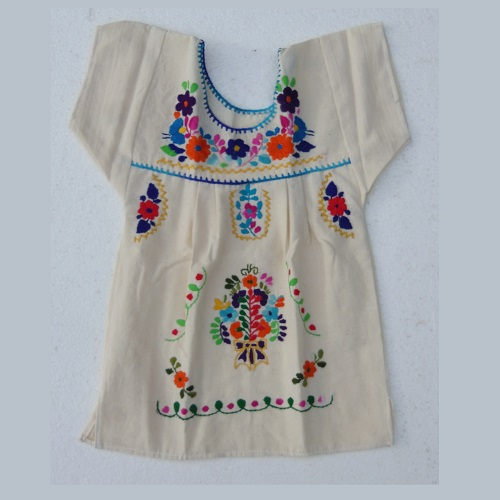Robe Mexicaine - Taille 2 ans - Crème