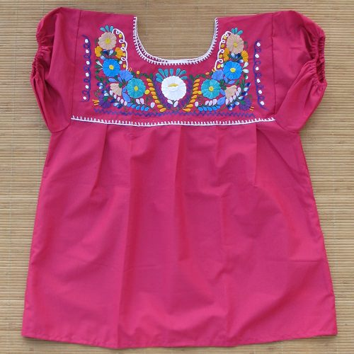 Blouse Mexicaine Brodée - Rose N°1 - S
