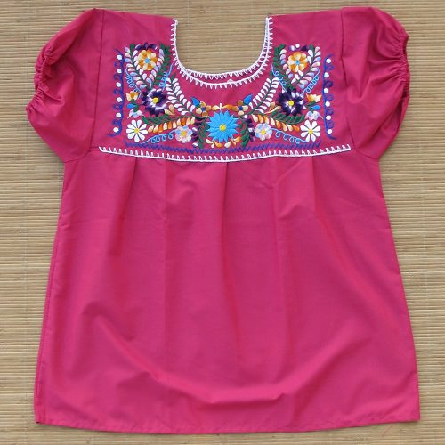 Blouse Mexicaine Brodée - Rose N°2 - S