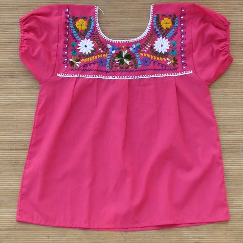 Blouse Mexicaine Brodée - Rose N°3 - S