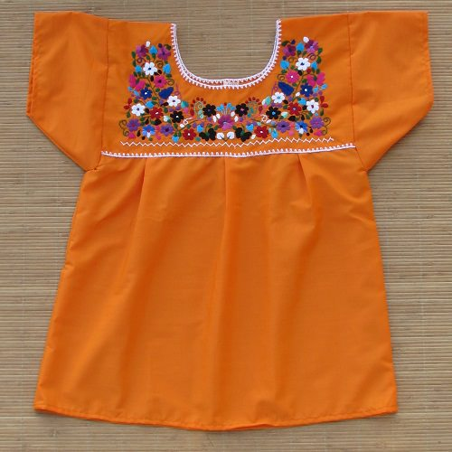 Blouse Mexicaine Brodée - Orange N°1 - S