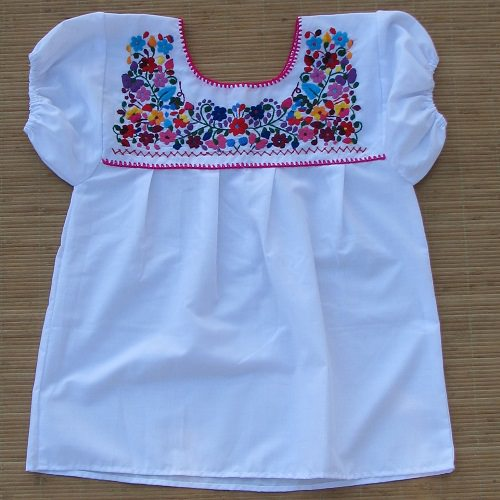 Blouse Mexicaine Brodée - Blanc N°2 - XS