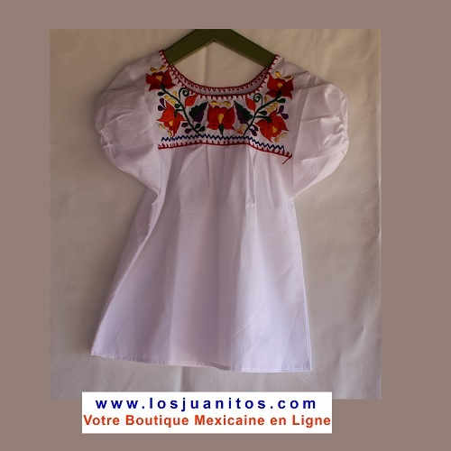 Blouse Mexicaine - Taille 4 ans - Blanche