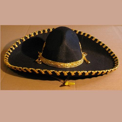 Sombrero de Mariachi - Infantil - Negro - Dorado ebd8c30b548