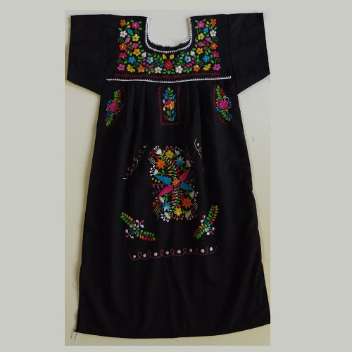 Robe Mexicaine Brodée - Taille 10 ans - Noire