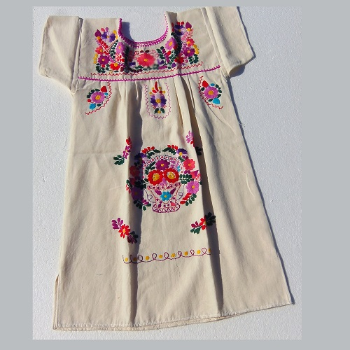Robe Mexicaine - Taille 12 ans - Crème III