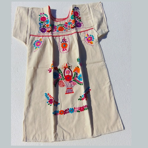 Robe Mexicaine - Taille 12 ans - Crème