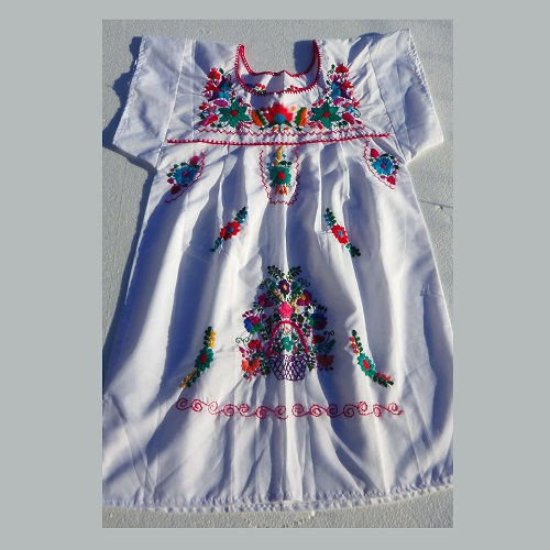 Robe Mexicaine - Taille 14 ou 16 ans - Blanche