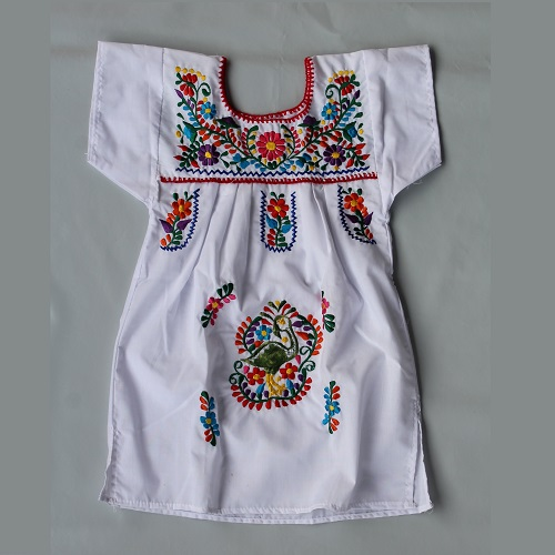 Robe Mexicaine Brodée - Taille 8 ans  - Blanche