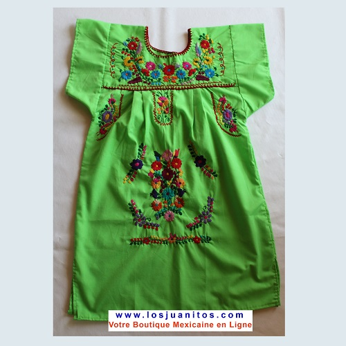 Robe Mexicaine - Taille 12 ans - Verte