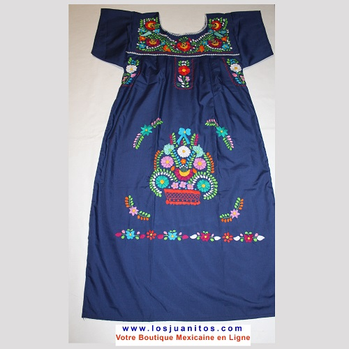 Robe Mexicaine - Taille M - Bleue