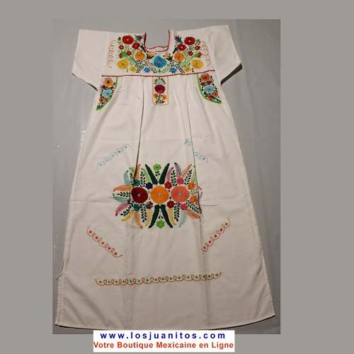 Robe Mexicaine - Taille L - Blanche