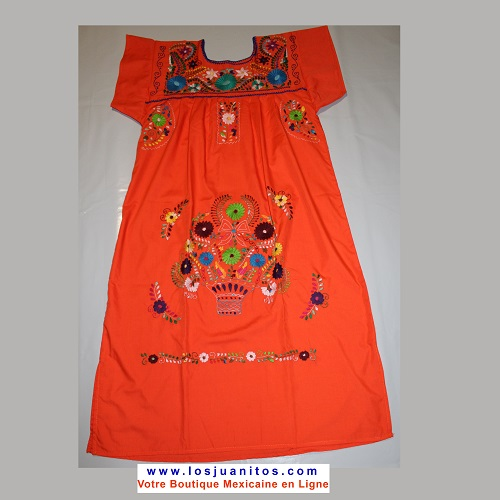 Robe Mexicaine - Taille L - Orange