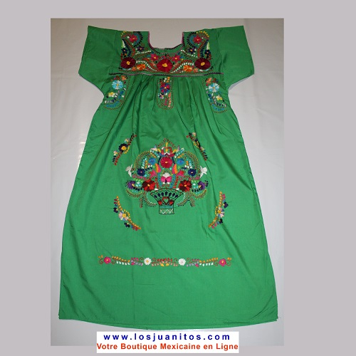 Robe Mexicaine - Taille L - Vert