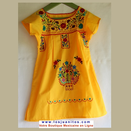 Robe Mexicaine - Taille 6 ans - Jaune
