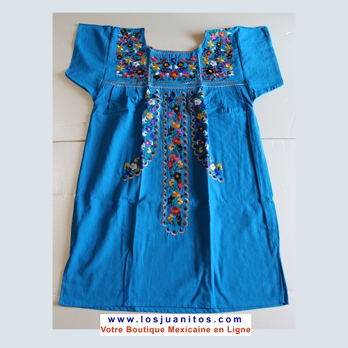 Mini Robe Mexicaine - Taille M - Turquoise