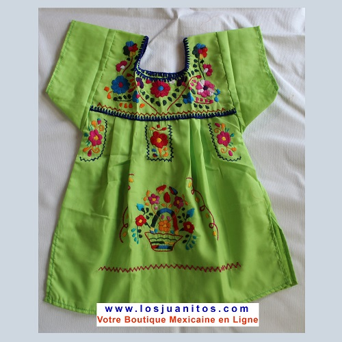 Robe Mexicaine - Taille 2 ans - Verte