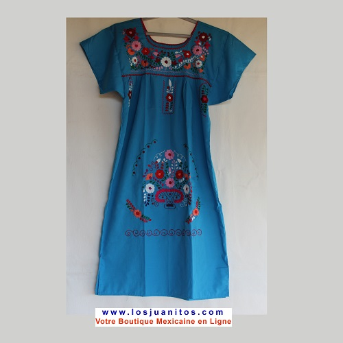Robe Mexicaine - Taille S - Turquoise