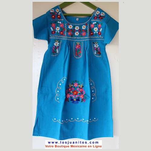 Robe Mexicaine - Taille 10 ans - Bleue