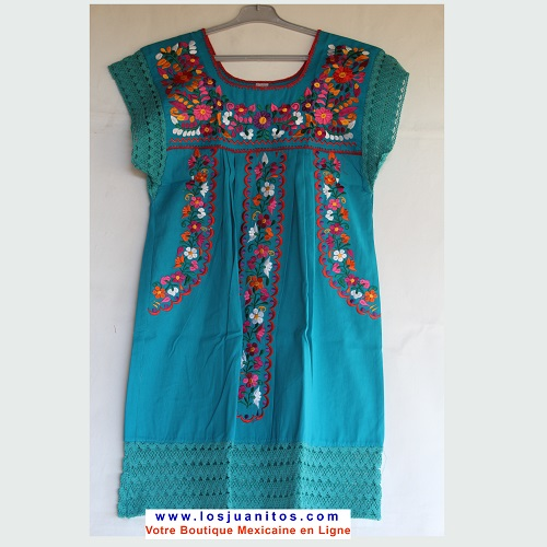 Mini Robe Mexicaine - Taille S - Turquoise
