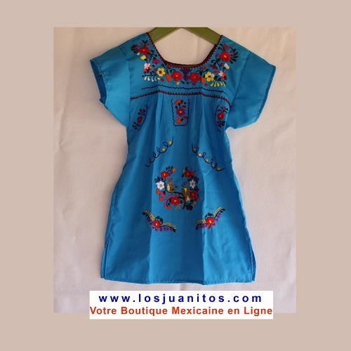 Robe Mexicaine - Taille 4 ans - Bleue