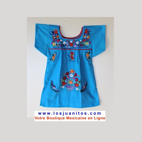 Robe Mexicaine - Taille 2 ans - Bleue