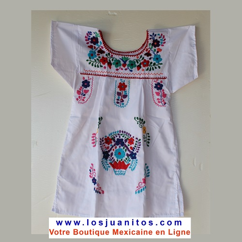 Robe Mexicaine - Taille 4 ans - Blanche