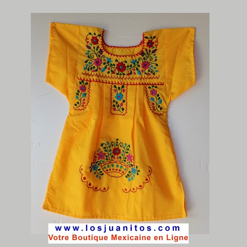 Robe Mexicaine - Taille 1 ans - Jaune