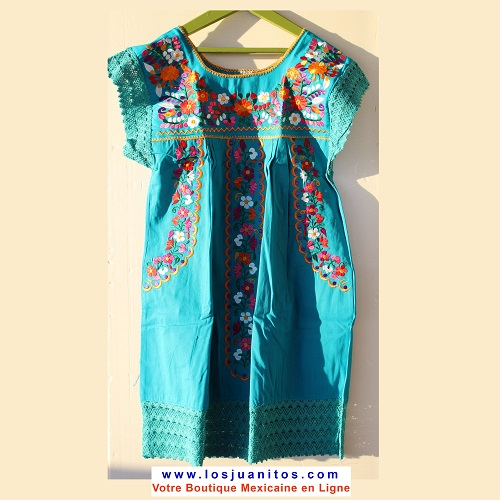 Mini Robe Mexicaine - Taille XS - Turquoise