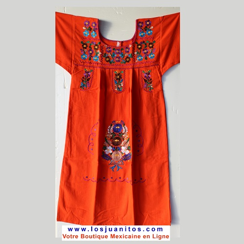 Robe Mexicaine - Taille 12 ans - Orange