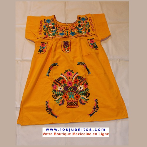Mini Robe Mexicaine - Taille L - Jaune