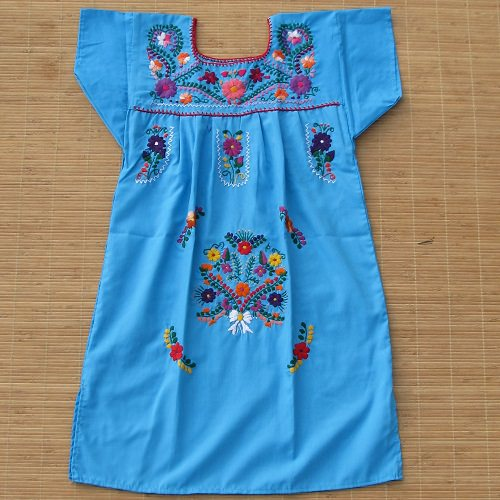 Robe Mexicaine Brodée - Taille 8 ans  - Bleu