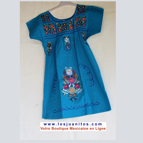 Robe Mexicaine - Taille 8 ans - Bleue