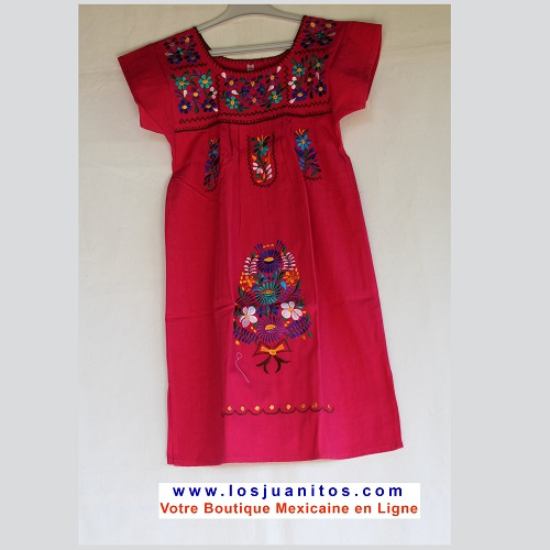 Robe Mexicaine - Taille 8 ans - Rose