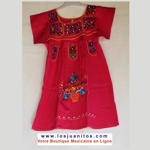 Robe Mexicaine - Taille 6 ans - Rose