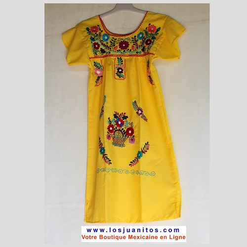 Robe Mexicaine - Taille 10 ans - Jaune