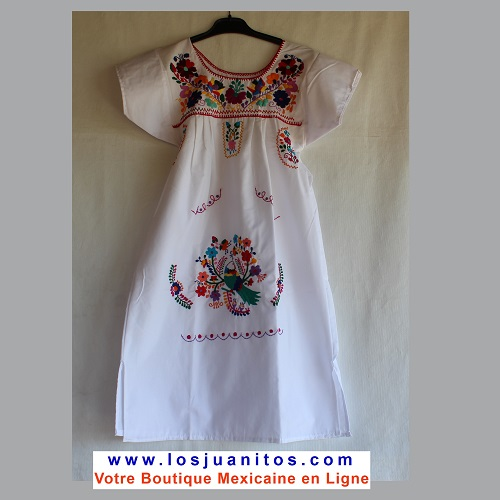 Robe Mexicaine - Taille 10 ans - Blanche