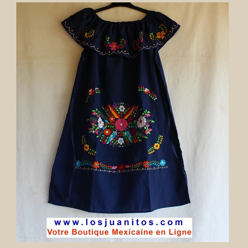 Robe Mexicaine - Taille L - Blue Marine