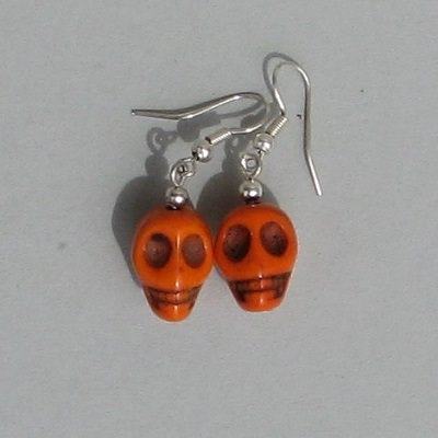 Boucles d Oreilles Tete de Mort Mexicaine - Orange